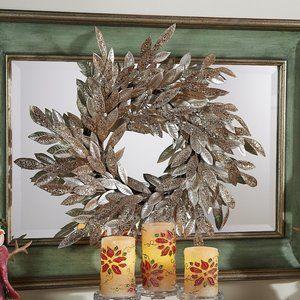 "22"" Sparkling Glittered Bay Leaf Wreath by Valerie"